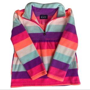 Children's Place Striped Half Zip Fleece Sweater Size 5 T